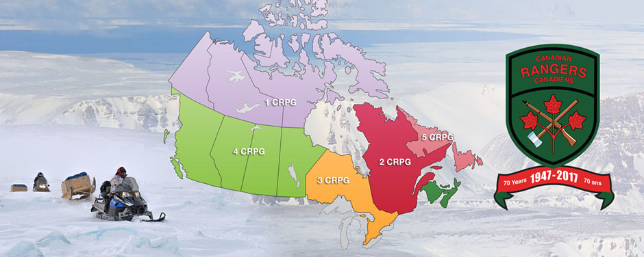 Graphic : snowmobile, map of Canada and the ranger badge on snow background