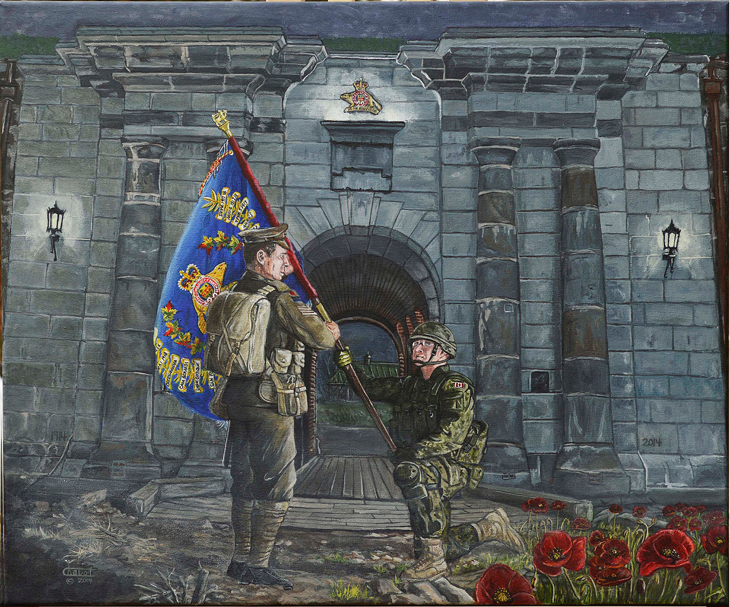A painting of two soldiers holding a Royal 22e Régiment flag
