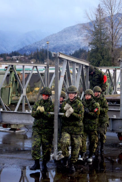 Sappers work on the construction of a bridge during Exercise PALADIN Response. Photo: Sgt Greg Gorecki