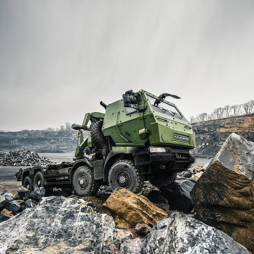 Mack Defense is supplying new vehicles to the Canadian Army's logistics fleet. Its 8x8 truck, built by French manufacturer Renault, will replace the Army's current Medium Support Vehicles starting in 2017. Photo provided by: Mack Defense. © John Sterling Ruth 2013.