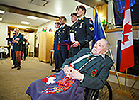Canadian Army veteran Stanley Ridsdale (in wheelchair)