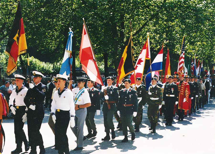 Canadian soldiers participate in the International Procession through the streets of Lourdes, France in 2000 as part of the 42nd International Military Pilgrimage.
