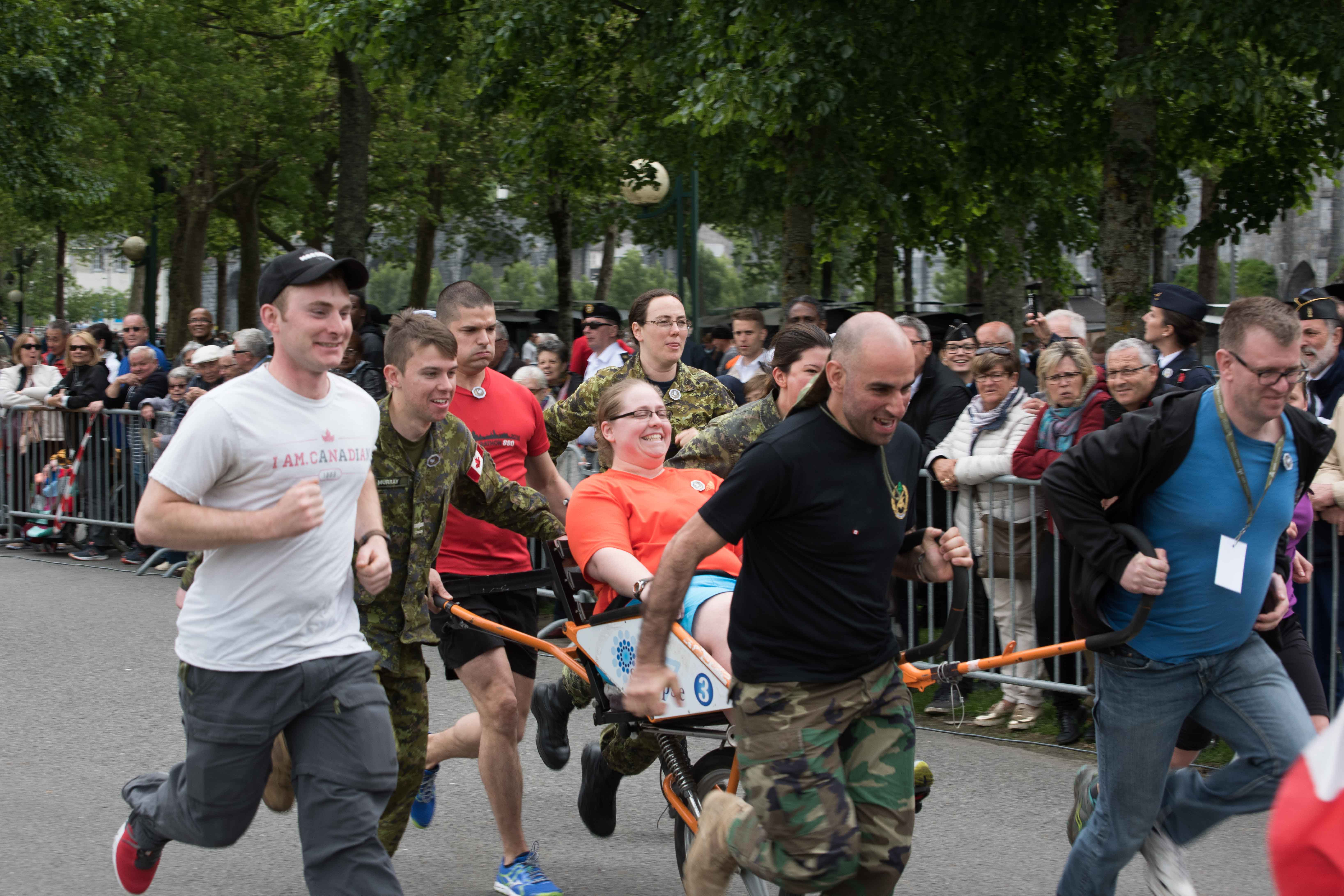 "Members of the Canadian Armed Forces Contingent participate in the sports challenge in Lourdes, France during the International Military Pilgrimage that was held May 19 to 21, 2017. Photo: Sergeant Dwayne ""George"" Janes, Army Public Affairs. ©2017 DND/MDN Canada."
