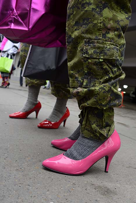 "The 2017 ""Walk a Mile in Her Shoes"" fundraiser broke a record for participation and raised over $190,000, surpassing the Edmonton YWCA's goal.  Photo: Master Corporal Brandon O'Connell, 3rd Canadian Division. ©2017 DND/MDN Canada."