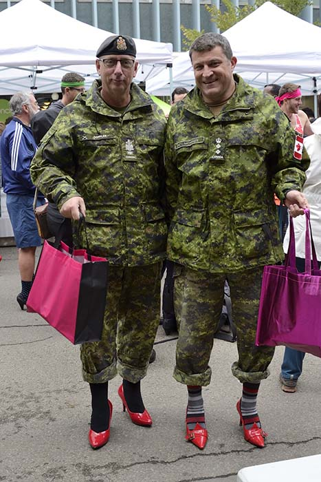 "Colonel Scott McKenzie and Chief Warrant Officer James Doppler of 3 Canadian Support Group were excited to take part in the Edmonton YWCA's 2017 ""Walk a Mile in Her Shoes"" fundraiser. Photo: Master Corporal Brandon O'Connell, 3rd Canadian Division. ©2017 DND/MDN Canada."