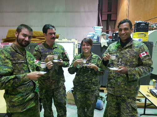 Left to right: Sergeant Ian MacAoidh, Captain Owen Lewis, Major Samantha. Burch and Captain Ward Lentz during Operation NANOOK 2017 in Rankin Inlet, Nunavut. 