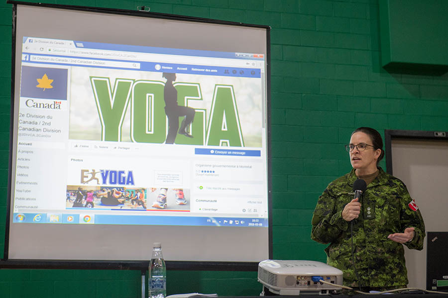 The 2nd Canadian Division hosts the 2nd Annual Exercise YOGA at the 2nd Canadian Division Support Base Valcartier, Québec City, Quebec, March 8, 2018. 