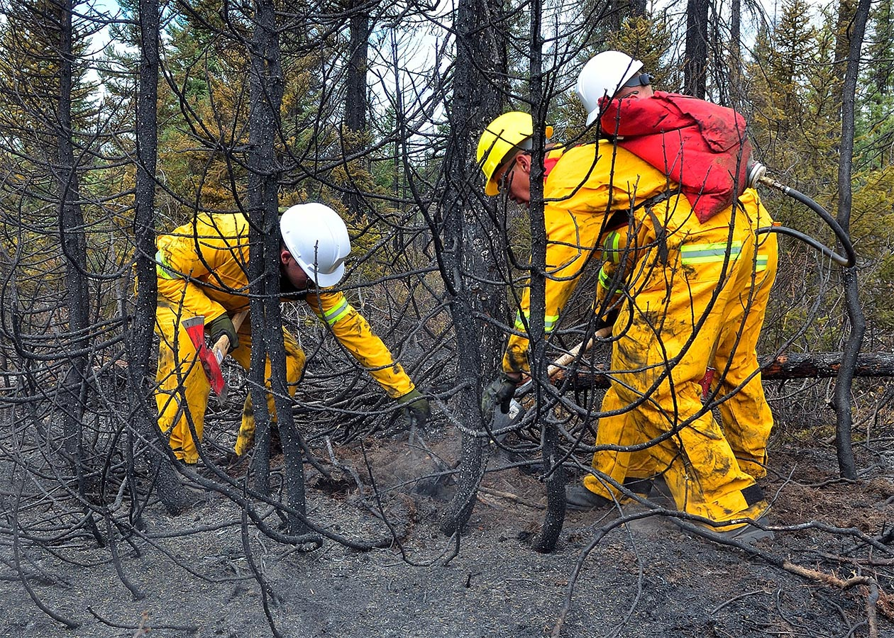 Members of 4 Engineer Support Regiment extinguish one of the many hot spots that remained after a wildfire began in the early afternoon of May 25, 2012 northeast of the main runway at 5 Wing, Canadian Forces Base Goose Bay, Newfoundland and Labrador. Photo: Captain Dave Bowen, 5 Wing Goose Bay. ©2018 DND/MDN Canada.