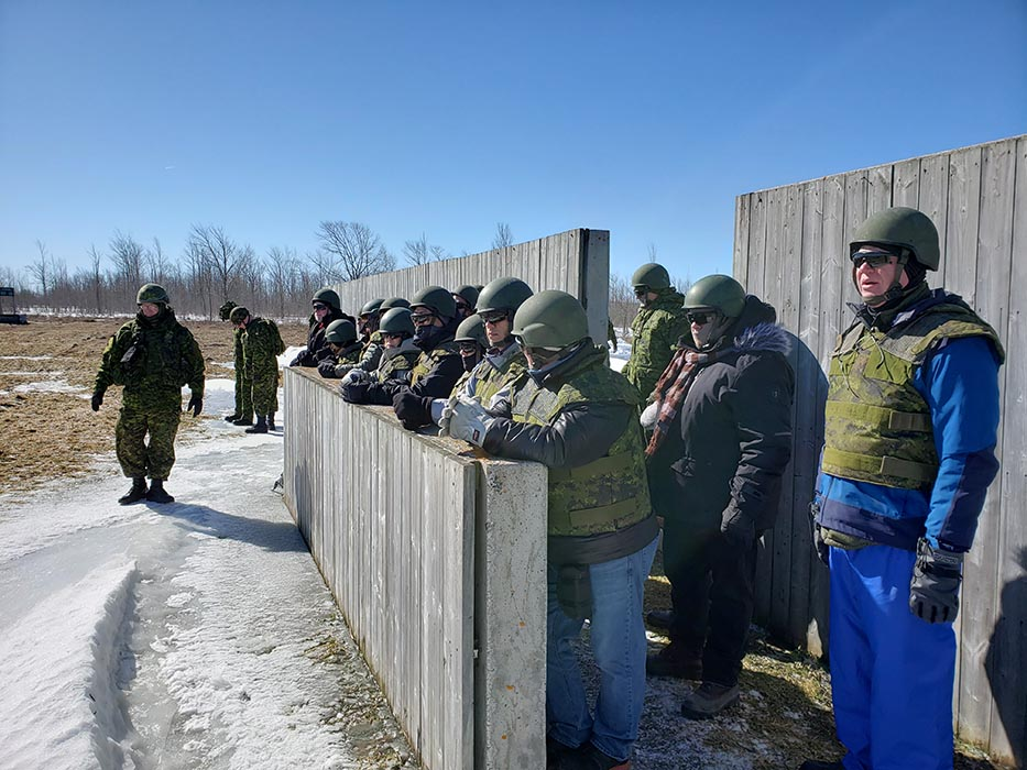 Civilians from the Chatham-Windsor area participate in the ExecuTrek program held at the 4th Canadian Division Training Centre in Meaford, Ontario from March 22 to 24, 2019. Through programs like ExecuTrek, civilian employers and educators get hands-on experience training like the Reservists they employ or teach. Photo: Sub-Lieutenant Andrew McLaughlin, 31 Canadian Brigade Group Public Affairs. ©2019 DND/MDN Canada.