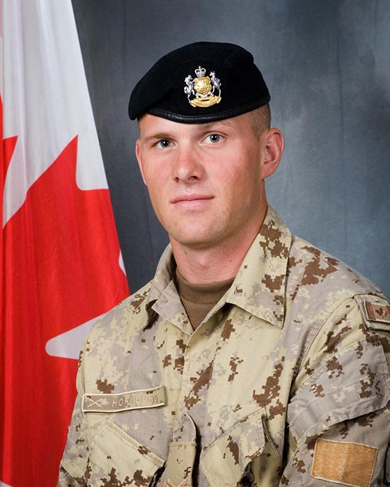 Corporal Nathan Hornburg died in Afghanistan on September 24, 2007 during Operation SADIQ SARBAAZ (HONEST SOLDIER). He was a Reserve soldier from the King's Own Calgary Regiment (Royal Canadian Armoured Corps), based out of Calgary, Alberta, who volunteered for overseas service. ©2019 DND/MDN Canada.