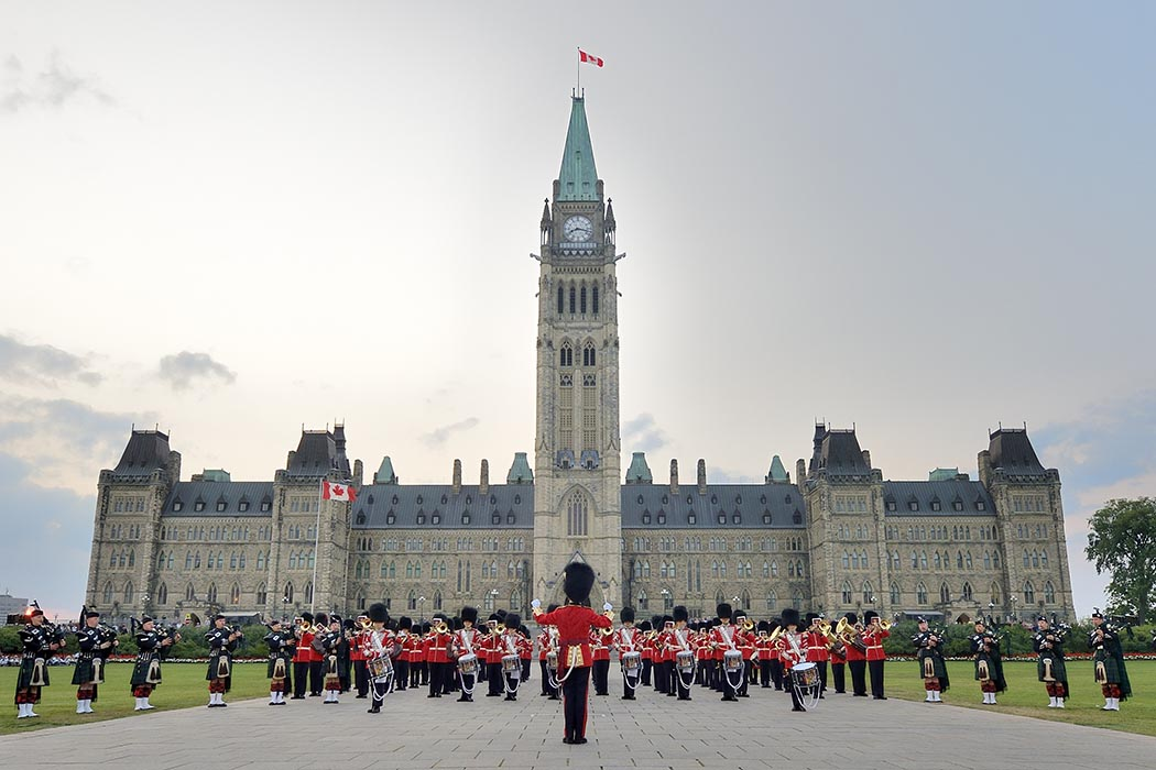 Traditional sunset ceremony at Parliment Hill