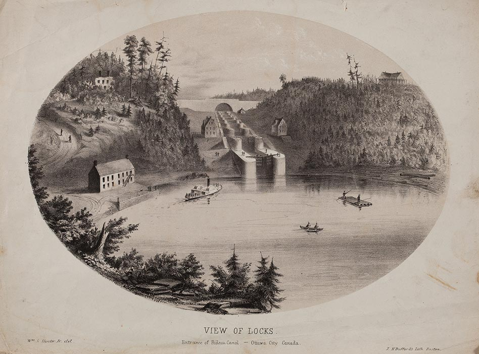 William S. Hunter, Jr., View of Locks, Entrance of Rideau Canal, Ottawa City, Canada, 1855, tint stone lithograph, Bytown Museum, P898i. Photo: Courtesy The Bytown Museum.