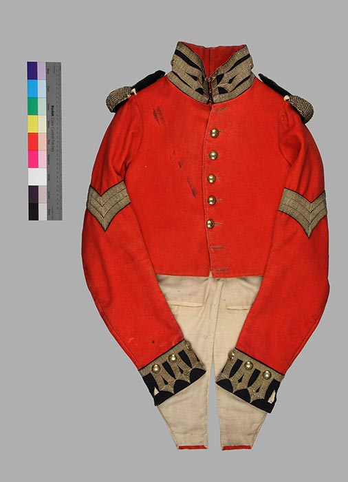 Uniform Jacket, Royal Sappers and Miners- Sgt. J. Coombs, 1827-1831, wool and brass, Bytown Museum, M107_1. (front view) Photo: Courtesy The Bytown Museum.