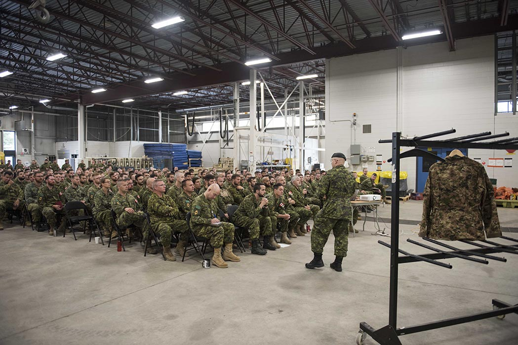 Lieutenant-Colonel Raymond Corby speaks about the Soldier Clothing and Equipment Modernization Trial