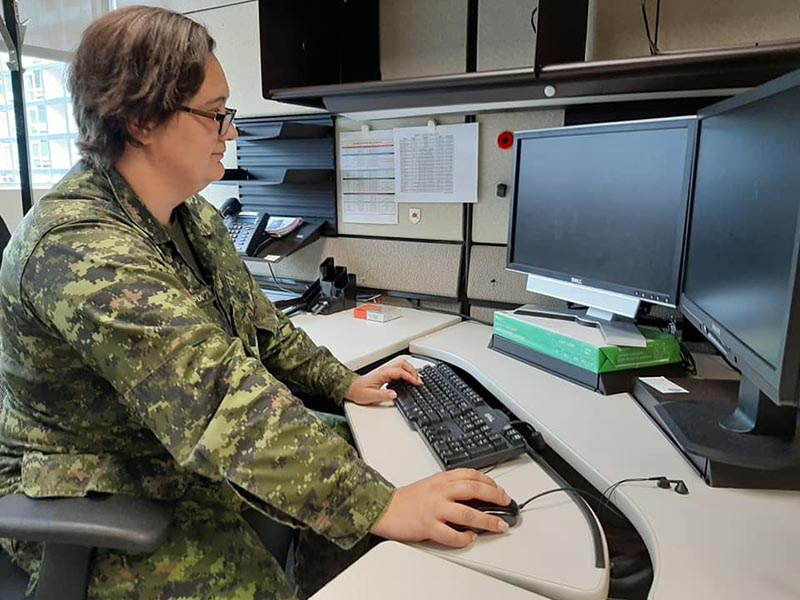 Corporal Andrea Pixley is the first woman soldier in Canada to serve in the Cyber Operator Trade, which she says requires an interesting combination of technical and creative skills. Photo: Steven Fouchard, Army Public Affairs. ©2019 DND/MDN Canada.