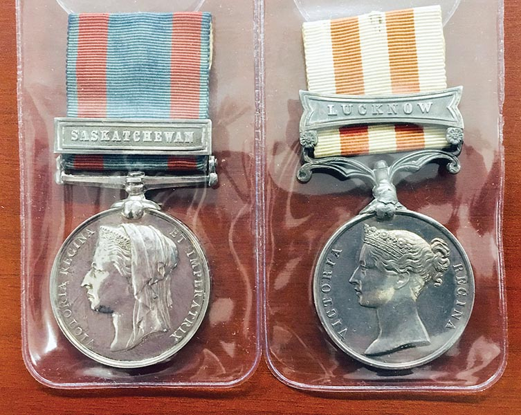 "A close-up of medals given to Major-General Tom Strange for service in the Northwest Rebellion of 1885 and for earlier service in India. The medals were recently acquired by the Royal Canadian Artillery Museum. MGen Strange has been called ""a father to the Artillery of Canada."" Photo: Jules Xavier, Shilo Stag ©2019 DND/MDN Canada."