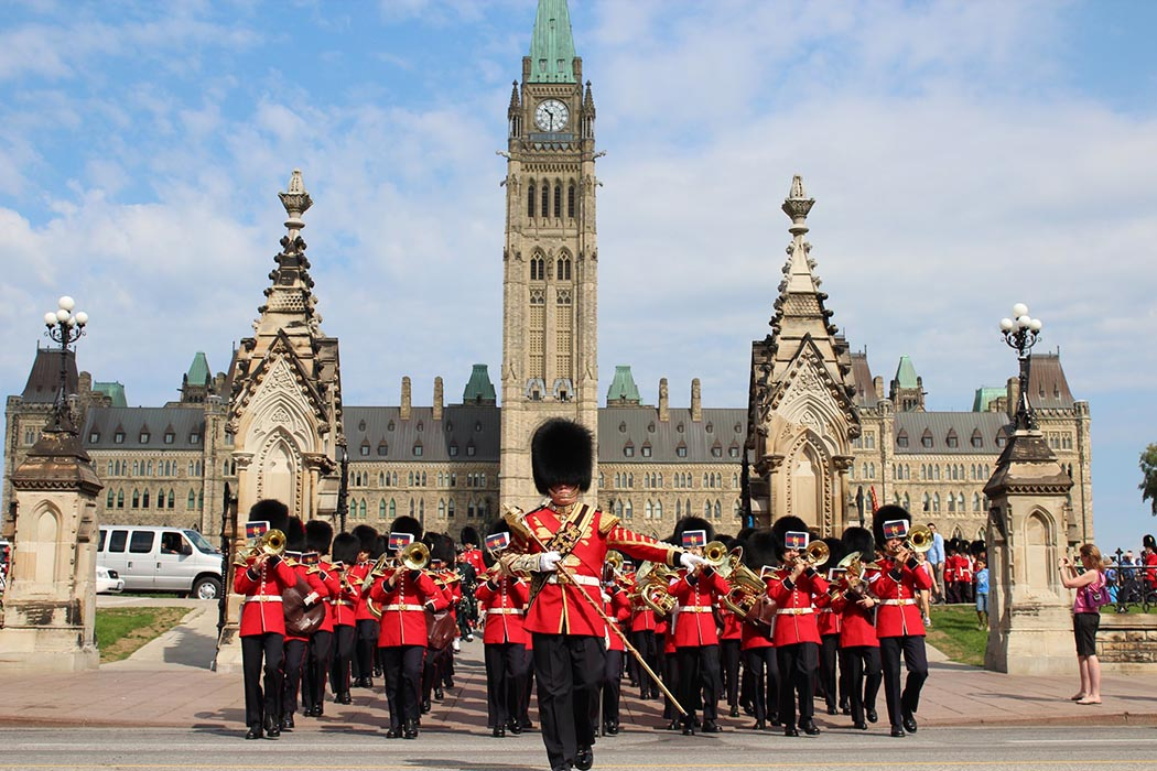 Memebrs of the Ceremonial Guard march on Parliament Hill.
