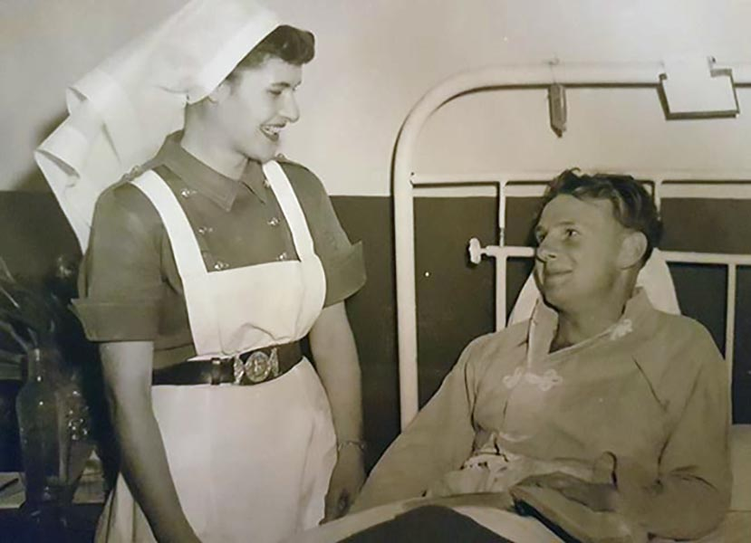 Lt N/S M. Horsnell and patient (name unknown) in Japan c. 1952 (exact date unknown). Photo provided by Sean Whitcomb.