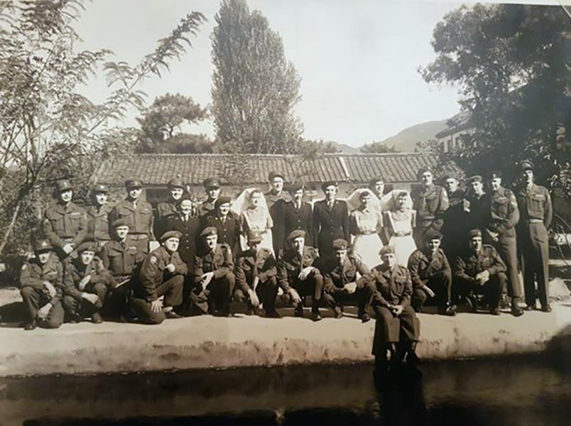 Group photo taken in Japan c. 1952 (exact date unknown). 7 nurses in centre row: Lt N/S J. Moore 2nd from left, Lt N/S M. Horsnell, 2nd from right. Photo provided by Sean Whitcomb.